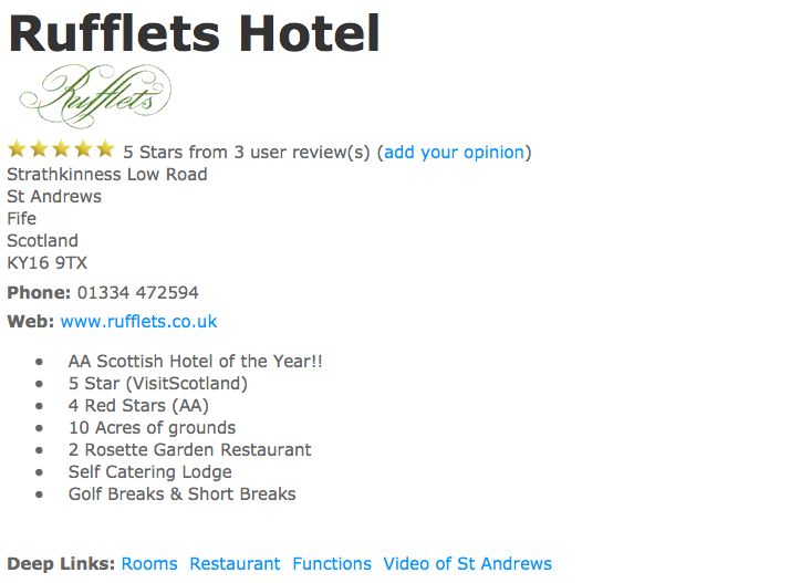Rufflets Hotel - A gold listing example